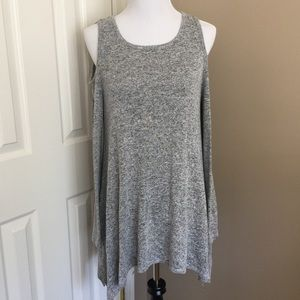 Soft Asymmetric Cold Shoulder Tunic sweater